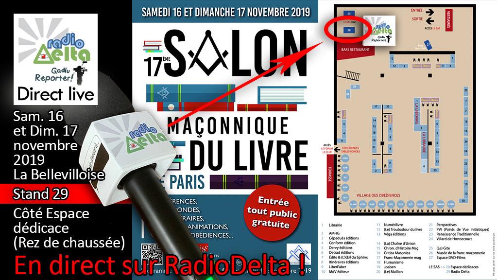 Delta-Info : RadioDelta en direct sur 2 jours, au salon maçonnique du livre de Paris – 16 et 17 nov. 2019 à la Bellevilloise :)