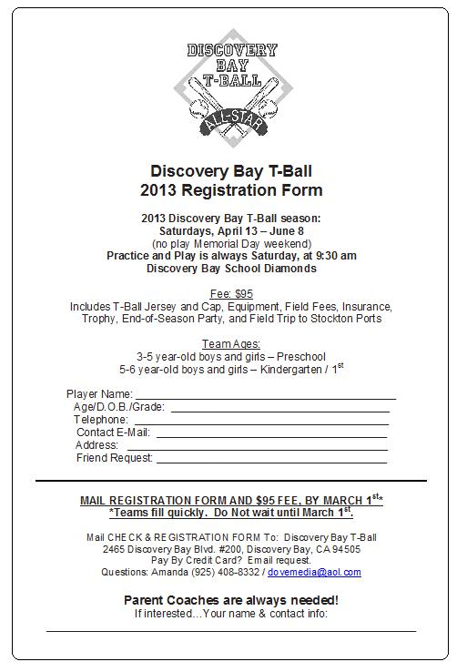 2013 T-BALL REG FORM