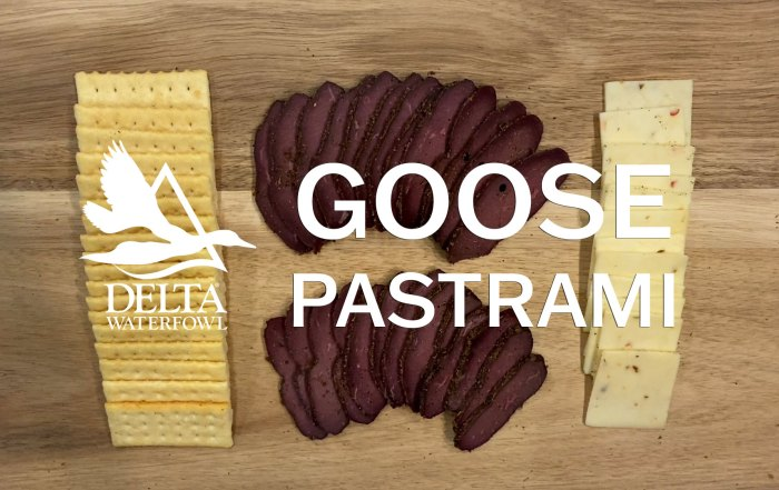 Goose pastrami recipe cooking video with crackers and cheese