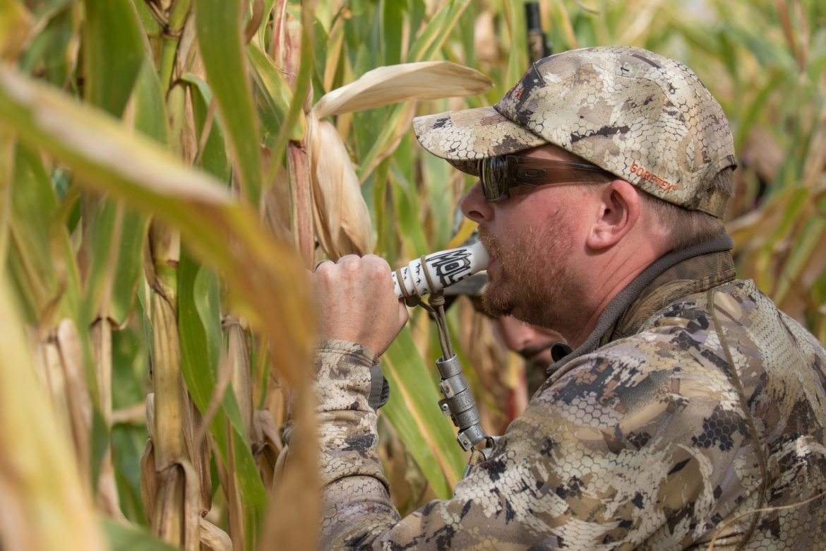 hunter calling in birds while hunting. Delta signs a letter opposing anti hunting measure