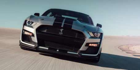 ford-shelby-gt500-2020-cobra-mustang-auto-deportivo-muscle-car-frente-gris-pista-velocidad