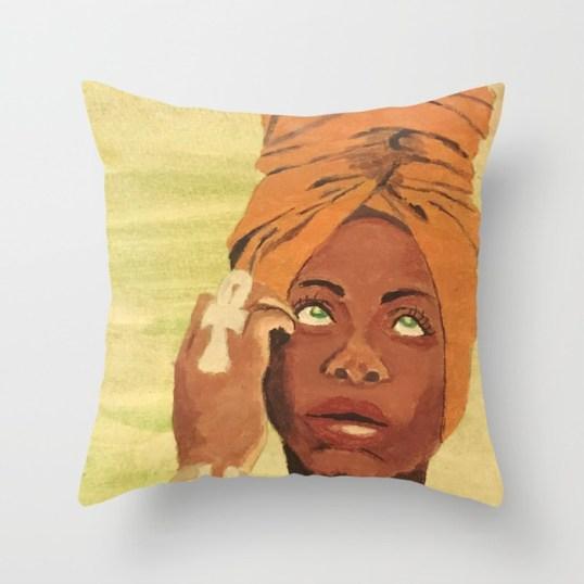 Erykah Badu Throw Pillow painted by Visual Artist Keara Douglas of Delux Designs (DE), LLC