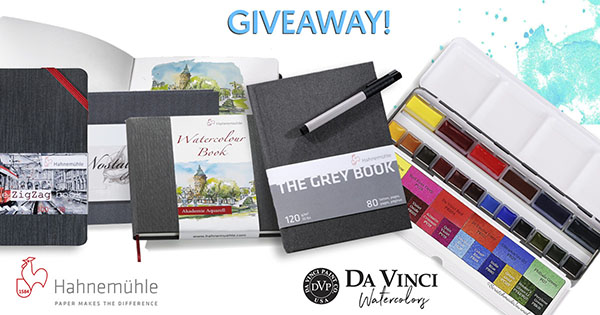 Hahnemühle Sketchbooks & Da Vinci Watercolor Giveaway with Doodlewash