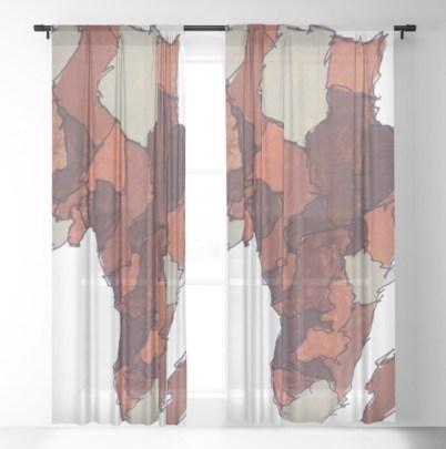 Motherland Sheer Curtains painted by Visual Artist Keara Douglas of Delux Designs (DE), LLC