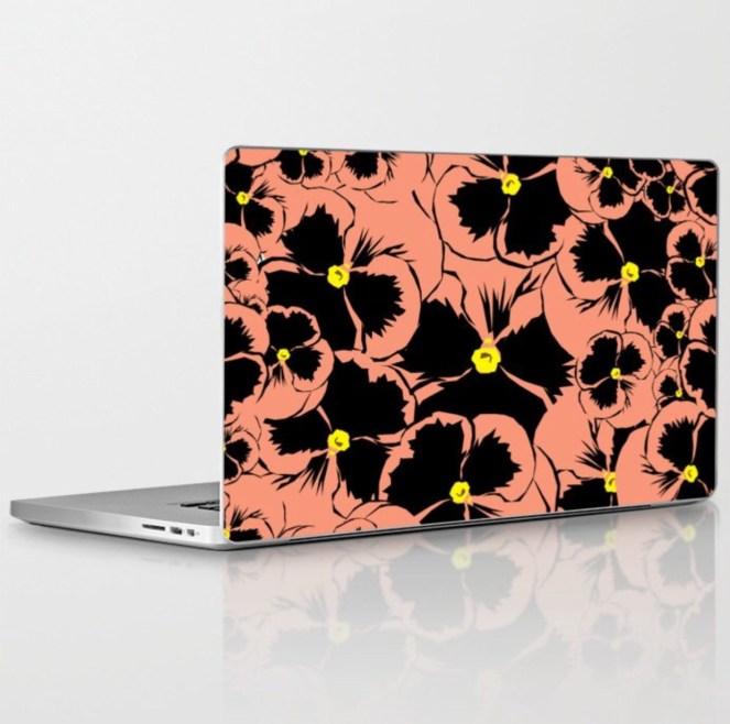 Peach Pansy Laptop Skin designed by Visual Artist Keara Douglas of Delux Designs (DE), LLC.