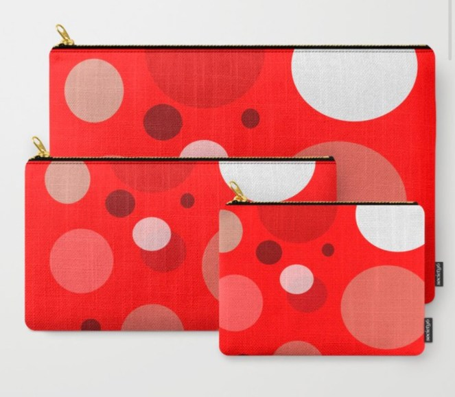 Red Dots Carry All Pouch designed by Visual Artist Keara Douglas of Delux Designs (DE), LLC