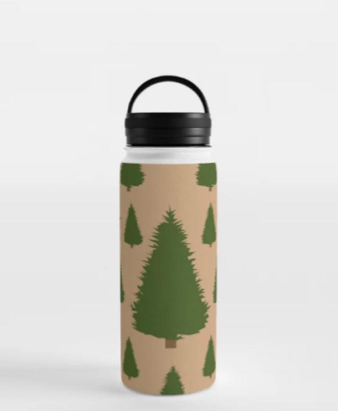Christmas Tree Water Bottle designed by Visual Artist Keara Douglas of Delux Designs (DE), LLC