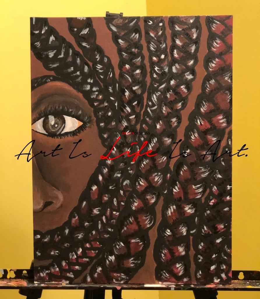 Braid Love Acrylic Painting by Visual Artist Keara Douglas of Delux Designs (DE), LLC