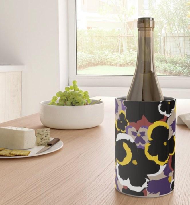 Pansy Love Wine Chiller designed by Visual Artist Keara Douglas of Delux Designs (DE), LLC