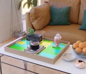Summer Square Serving Tray designed by Visual Artist Keara Douglas of Delux Designs (DE), LLC