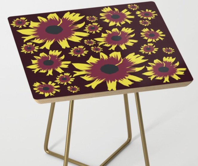 Black-Eyed Susan Love Side Table designed by Visual Artist Keara Douglas of Delux Designs (DE), LLC