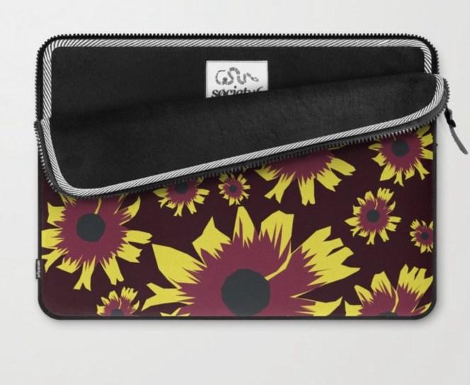 Black-Eyed Susan Love Laptop Sleeve designed by Visual Artist Keara Douglas of Delux Designs (DE), LLC