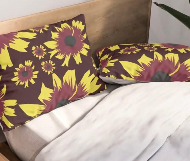 Black-Eyed Susan Love Pillow Shams designed by Visual Artist Keara Douglas of Delux Designs (DE), LLC