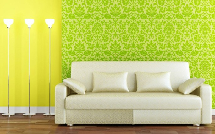 yellow paint, green wallpaper