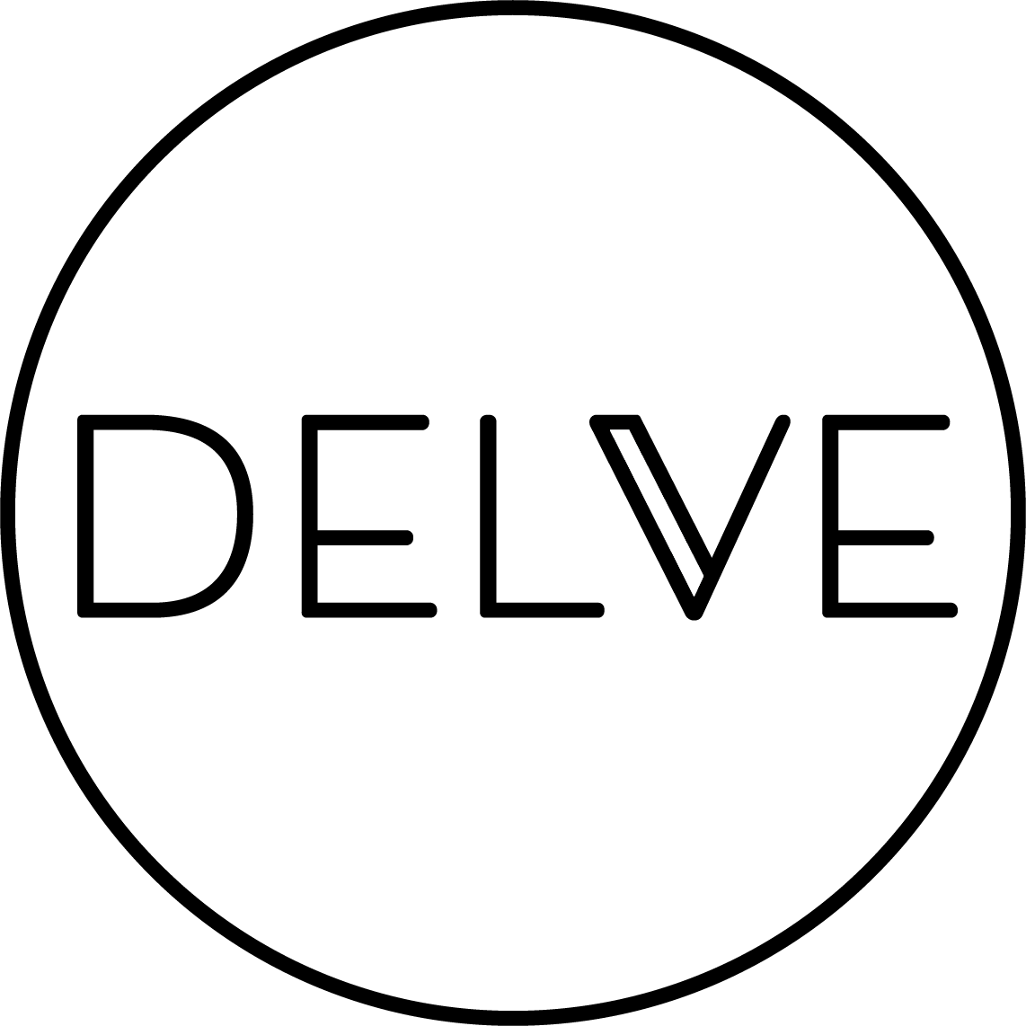 Logo for Delve Books. Image shows a circle with the word Delve in capital letters in modern type.