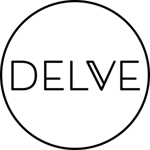 Logo for Delve Books. The image shows the word 'delve' in modern capital letters within a circle.