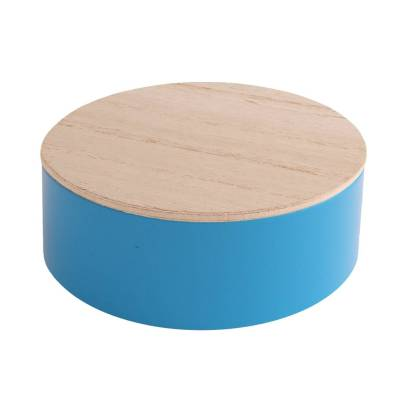 rond blikje hout turquoise