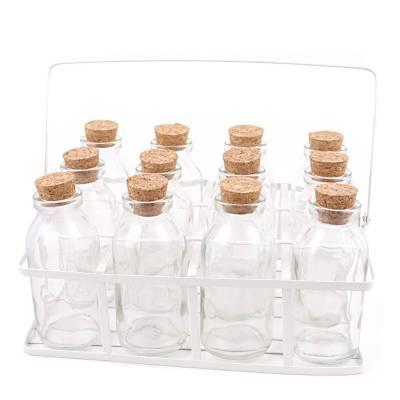 Wit mandje voor 12 flesjes met kurk