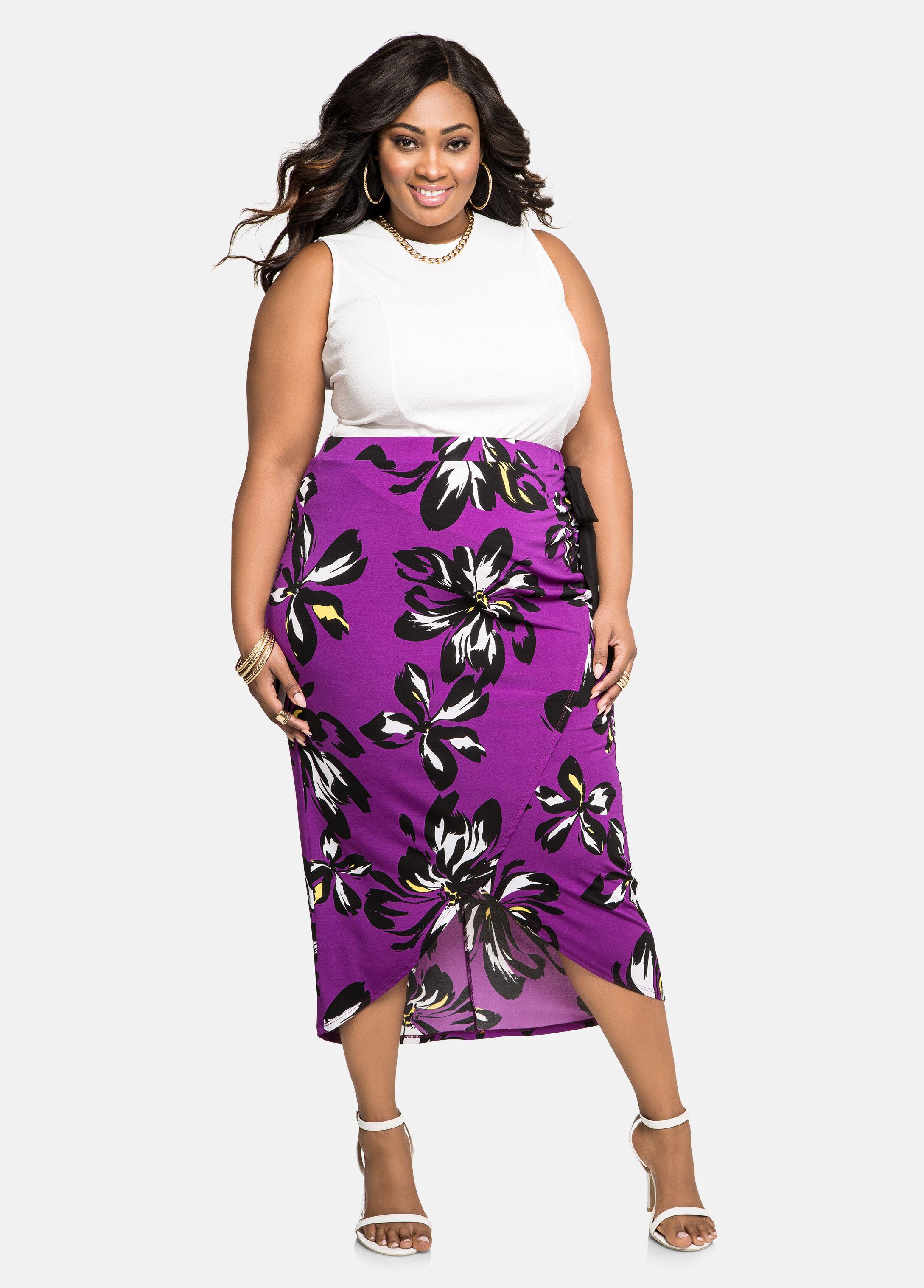 Hibiscus Wrap Front Midi Skirt