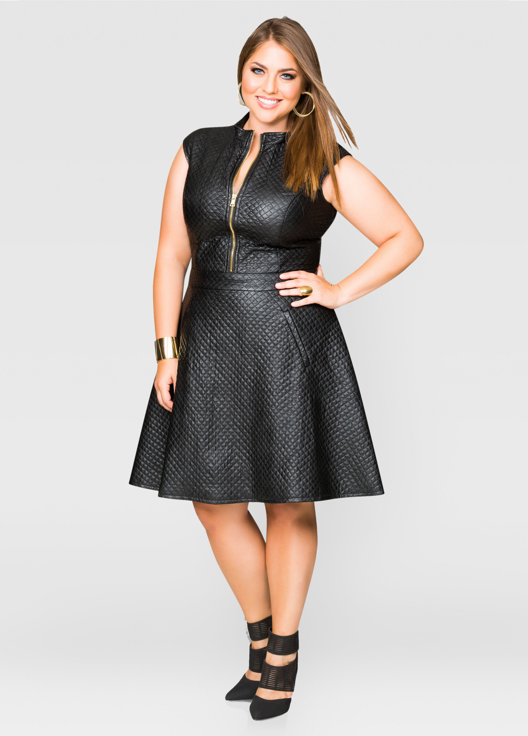 a289e824d Black Faux Leather Skater Dress