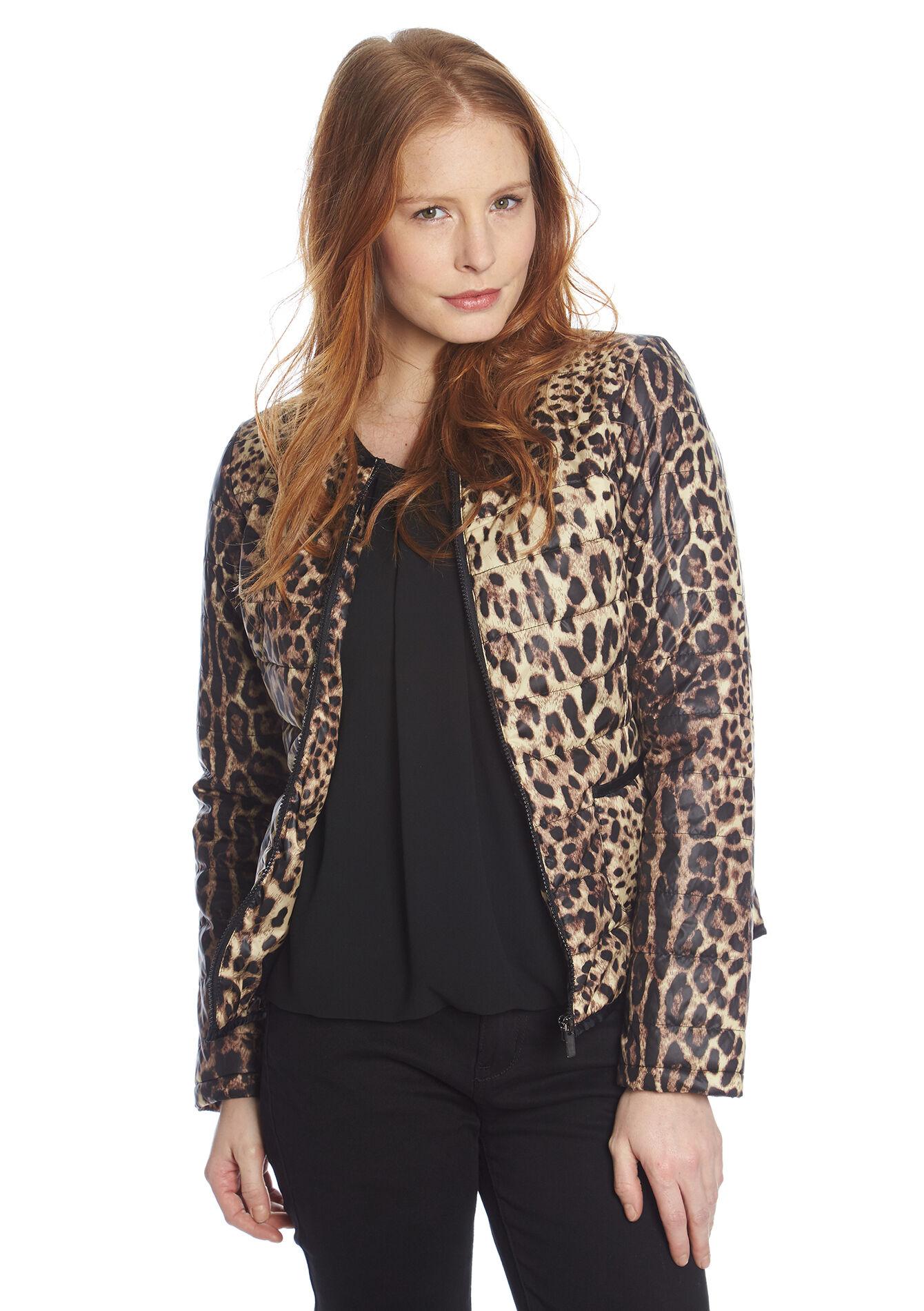 Blouson matelassé imprimé léopard - CAMEL BEIGE - 10000478_1122