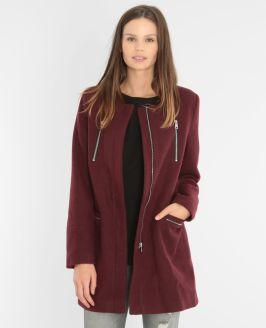 Manteau drap de laine grenat