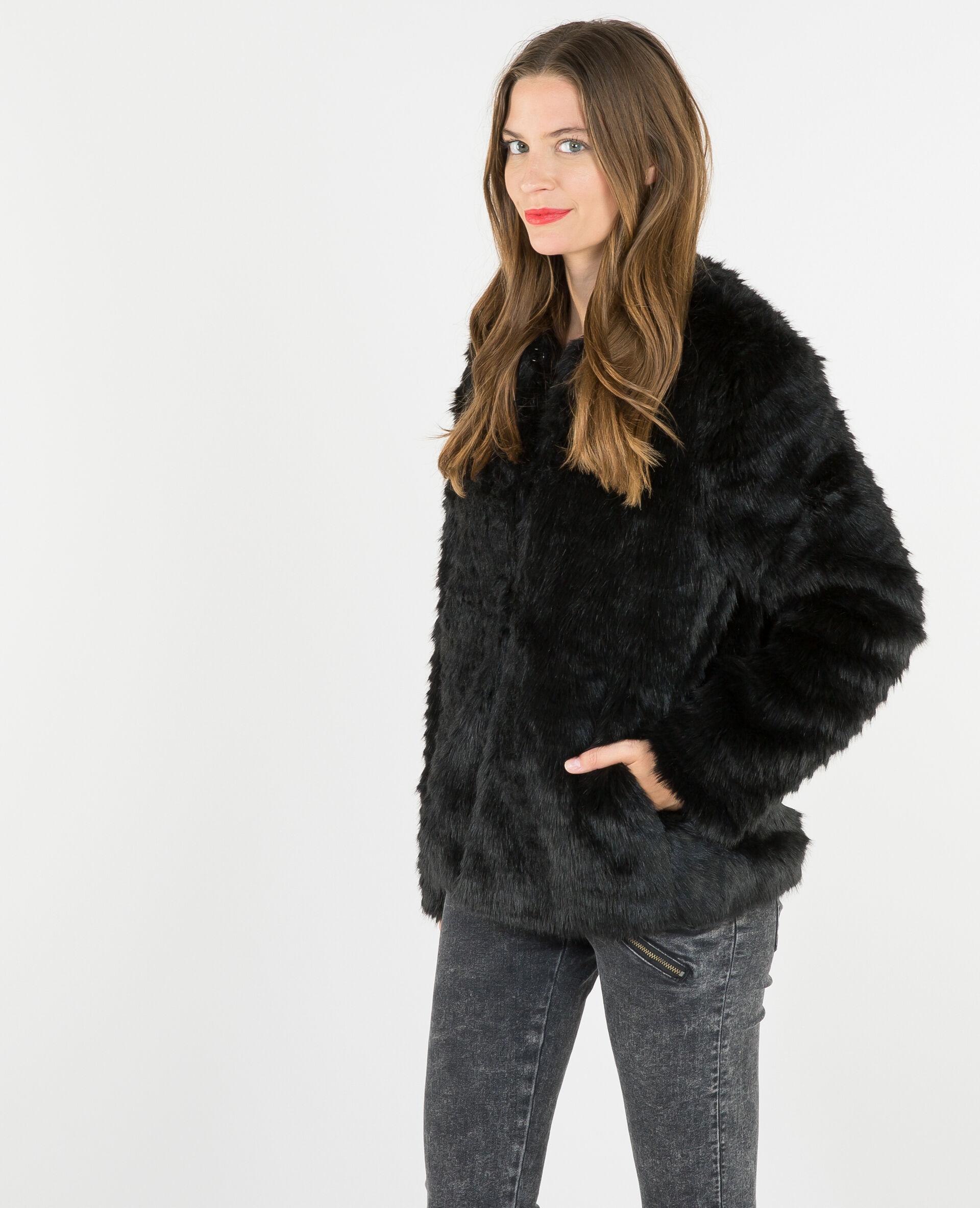Mantel aus Webpelz Schwarz