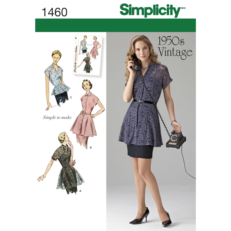 Simplicity Pattern 1460 Misses' 1950s Vintage Peplum Tunic & Blouse