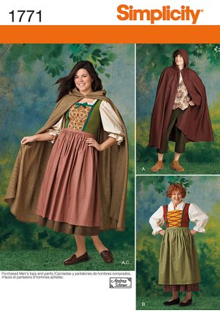 Simplicity Pattern 1771 Misses' and Men's Costume