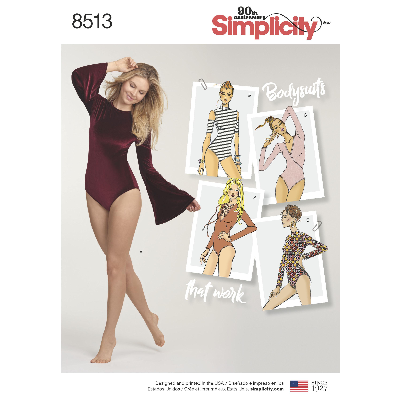 Simplicity Pattern 8513 Misses' Knit Bodysuits