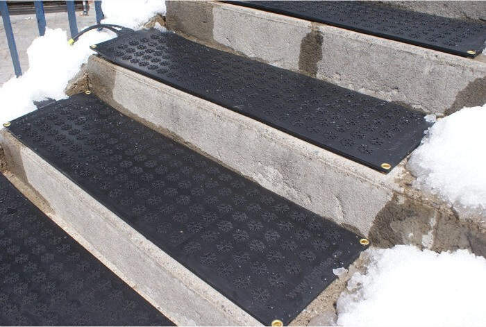 Hotflake Outdoor Heated Stair Mat At Brookstone—Buy Now | Outdoor Stair Treads For Winter