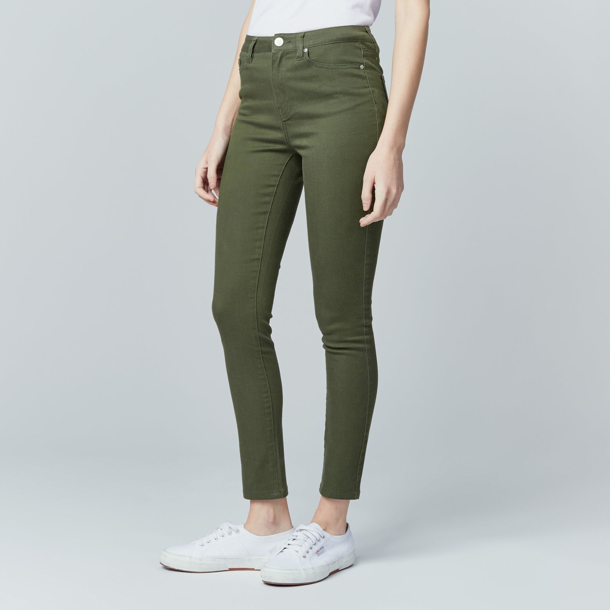Warehouse, Crop Skinny Cut Jeans Khaki 1