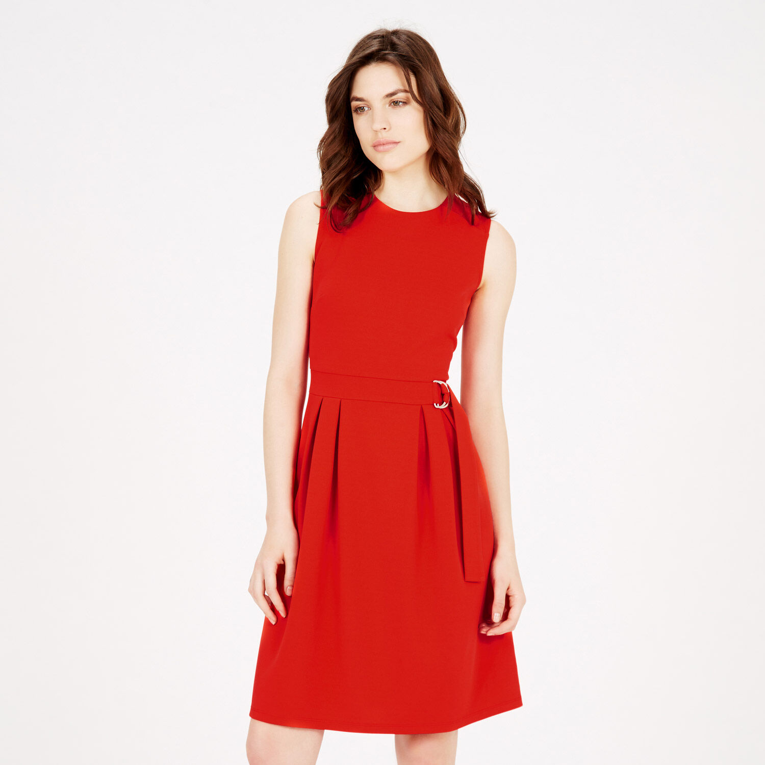 Warehouse, SLEEVELESS D RING DRESS Bright Red 1