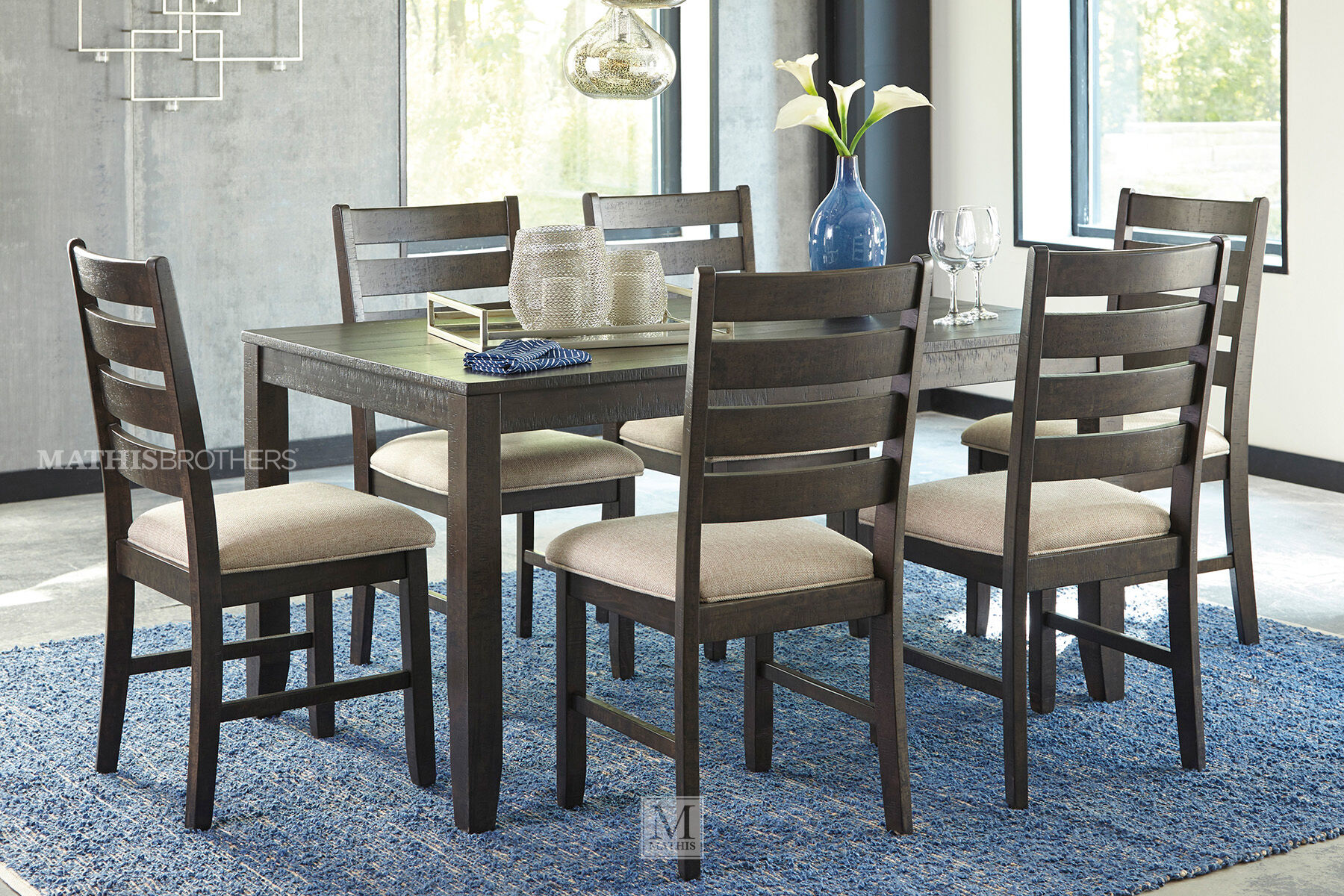 Ashley Rokane Brown Rectangle Seven Piece Dining Set Mathis Brothers Furniture