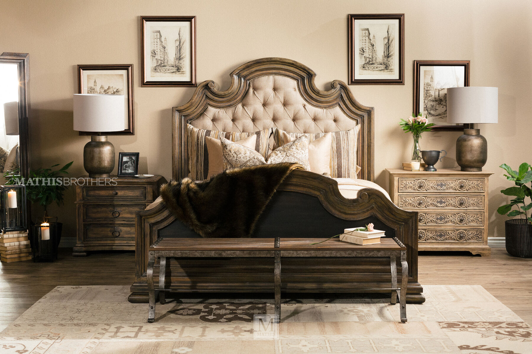 Hooker Hill Country Fair Oaks Brown Upholstered Bed