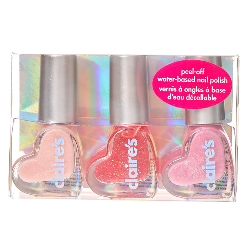 Glittery Pink L Off Water Based Nail Polish Trio