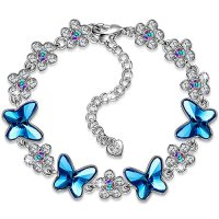 PAULINE&MORGEN Alegría de la Primavera Pulsera para Mujer fabricados con cristales SWAROVSKI mariposa azul