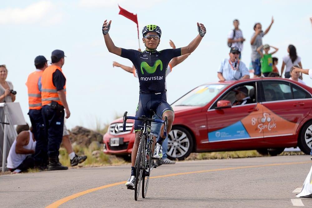 Nairo Quintana ganando la 4 etapa del Tour de San Luis