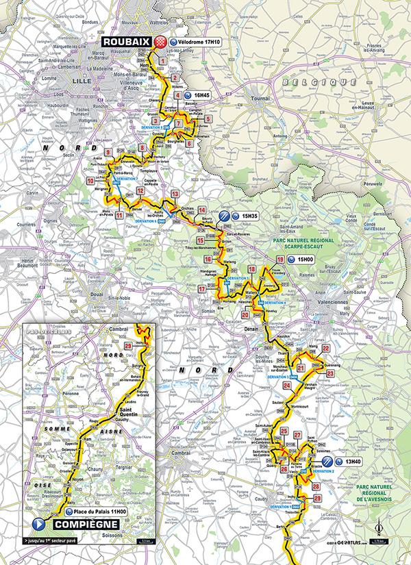 Recorrido París - Roubaix 2018