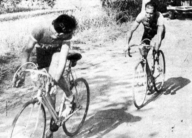 Fausto Coppy y Gino Bartali en el Giro de 1949