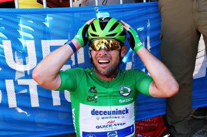 Mark Cavendish después de igualar el récord de Eddy Merckx