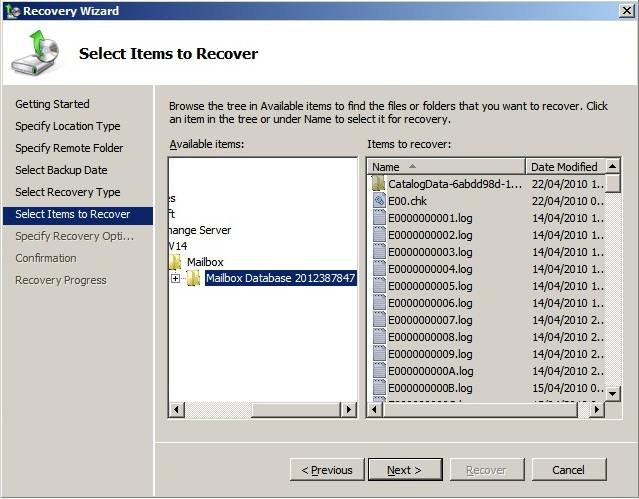 Mailbox Recovery Exchange 2010 (4/6)