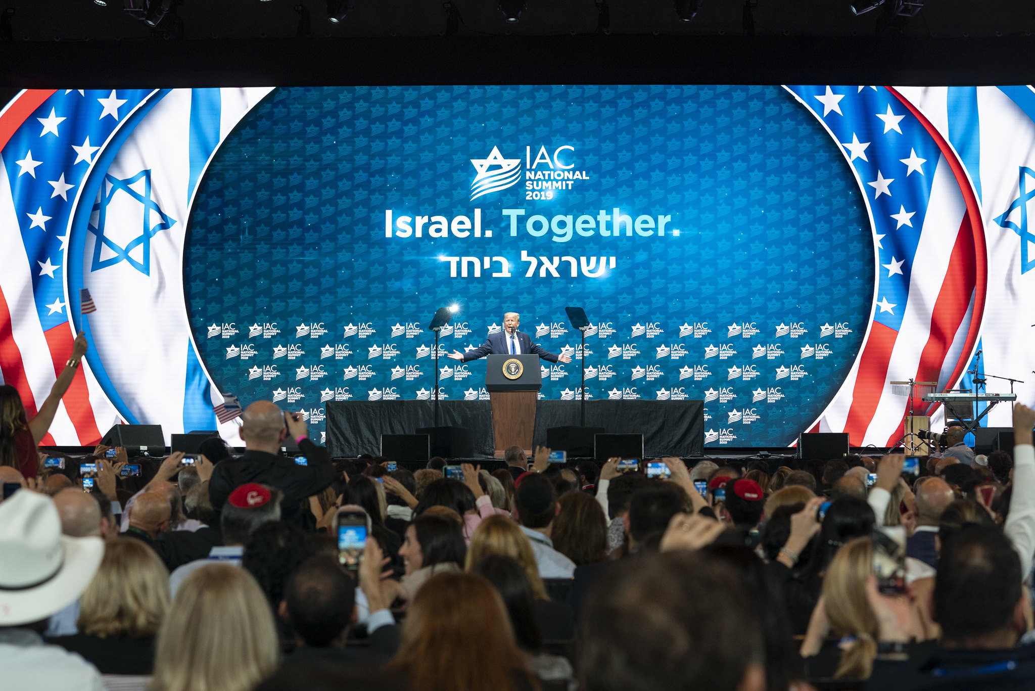 President Trump speaking to the Israeli-American Council.