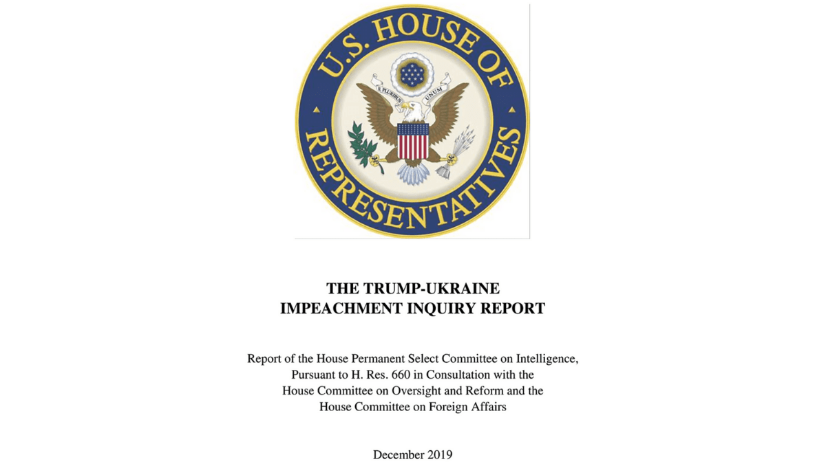 Screenshot of the cover of the impeachment report.