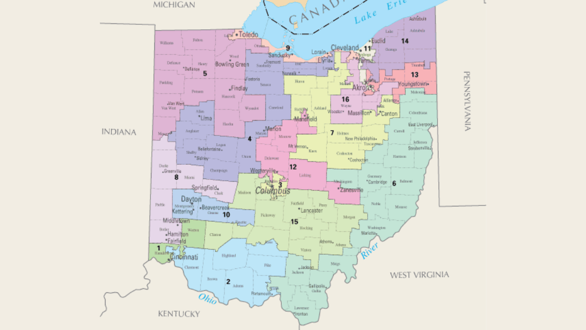 Map of Ohio Congressional Districts