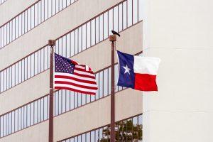 Texas flag and U.S. flag