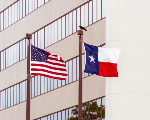 Texas flag and U.S. flag