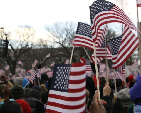 American flags at Obamas second inauguration