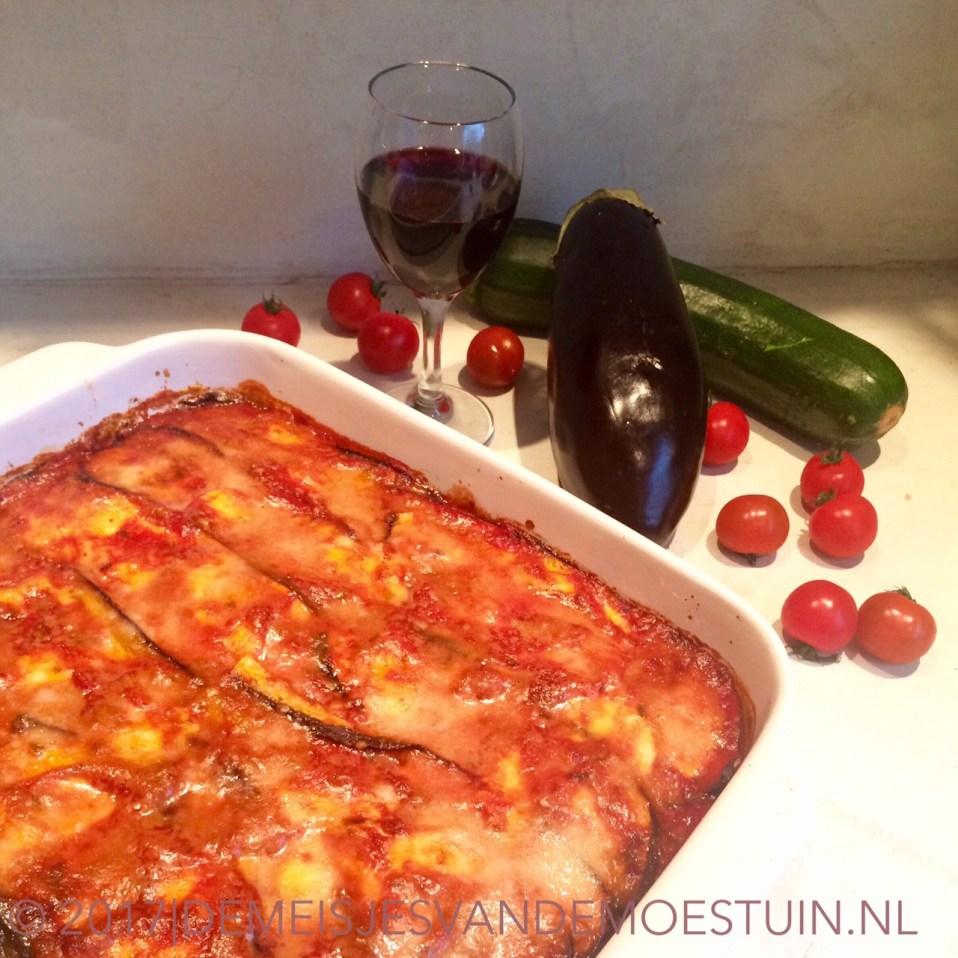 vegetarische lasagna van gegrilde groente