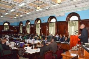 President David Granger addressing Parliament on Thursday, January 14, 2016. In the foreground at left is Opposition Leader, Bharrat Jagdeo.